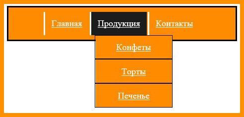 Горизонтальное меню html