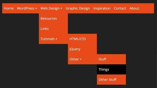 Горизонтальное меню с выпадающим списком html css