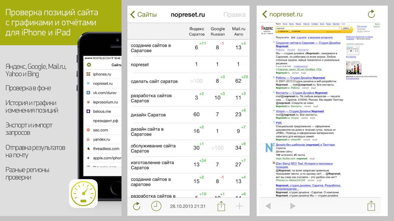 Позиции сайта в яндексе и google