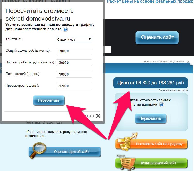 Онлайн оценка стоимости сайта