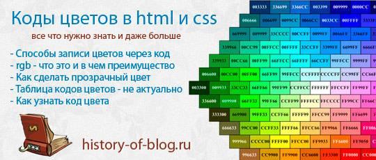 Коды цветов html и css - все что нужно знать