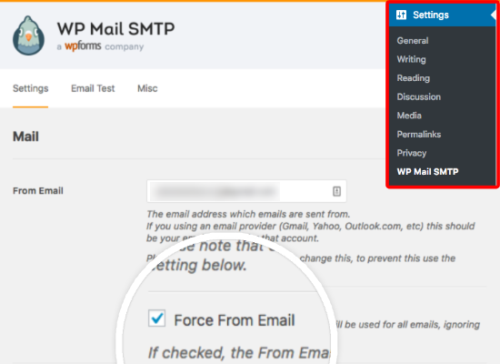 Enable the Force From Email option in WP Mail SMTP