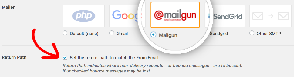 WP Mail SMTP Mailer settings for Mailgun