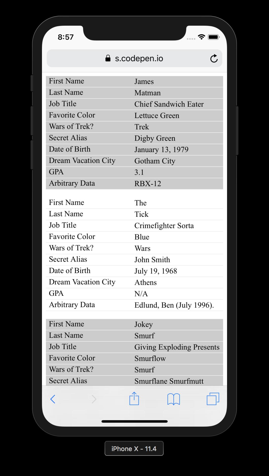 Адаптивная таблица html