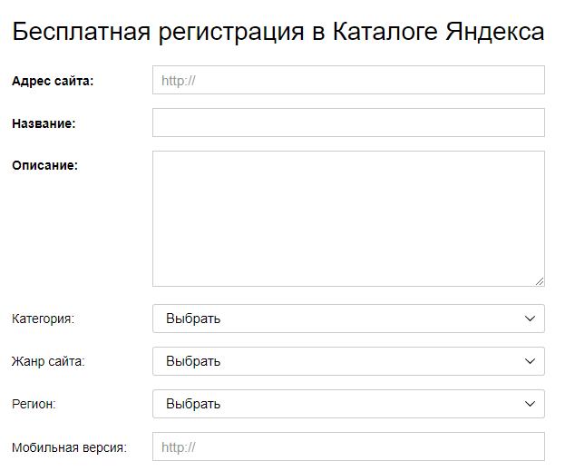 Яндекс каталог сайтов
