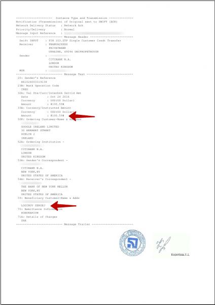 Adsense-SWIFT платеж Приватбанк