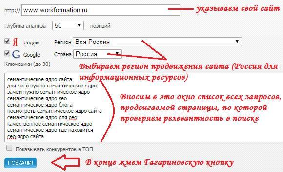 Определение релевантности страницы по запросам в сервисе SeoGadget