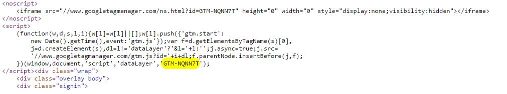 будем вытягивать GTM ID с помощью регулярного выражения